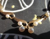 Dainty Brushed Gold 14K Yellow Gold with Delicate Pearls Necklace