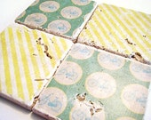 SALE Teal Green and Lemon Yellow Bicycle Coaster Set of Four