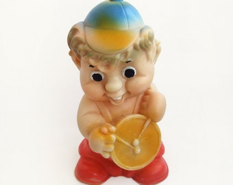 Cute Little Drummer, Vintage Soviet Rubber Toy