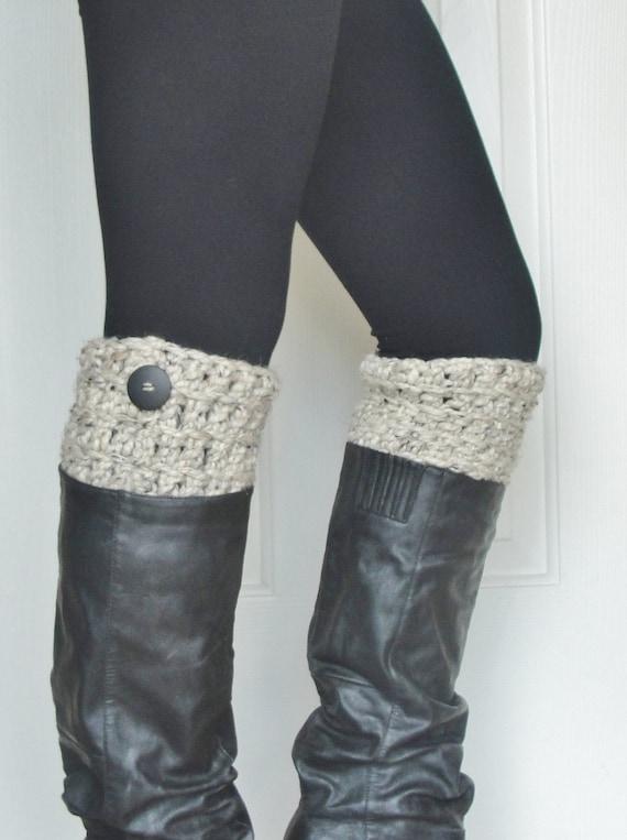 Crochet Boot Cuffs in Oatmeal w/ Button