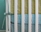 aqua and grass herringbone 5-piece nursery
