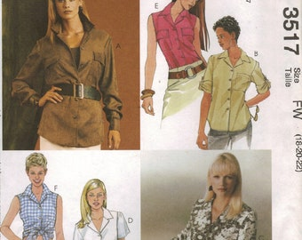 McCall's Sewing Pattern 3517 - Misses' Shirts (6-10, 12-16)