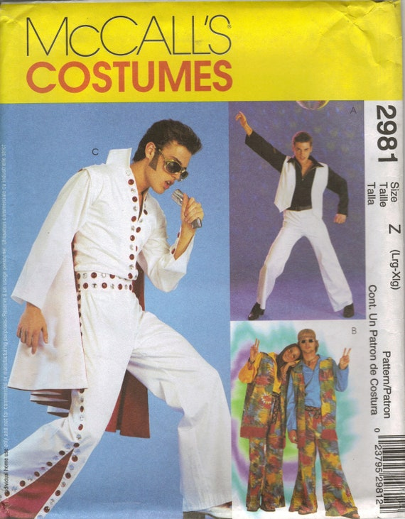 McCall's Costume Sewing Pattern 2981 - Adult Elvis, Hippie, & Disco Costumes (L-XL)