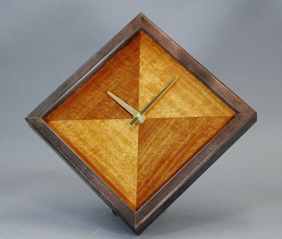 Figured Mahogany, Anigre Veneer And Birch Wood Wall Clock 10 Inches Square