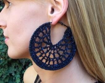 Hand Crocheted, Large, Round, Black, Metallic Blue, Black Hoop Earrings