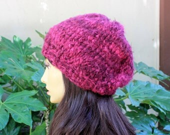 Hand Knit, Shades of Pink, Soft, Fuzzy, Acrylic, Slouchy, Beanie Hat for Women Fall Winter