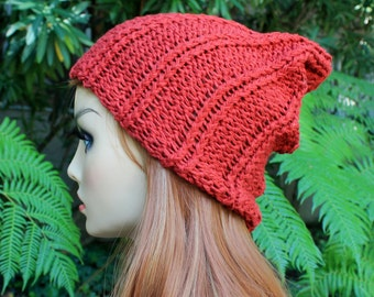 Hand Knit, Rust/Barn Red, 100 Percent Cotton, Rib Knit, Slouchy Beanie Hat for Women or Men Spring Summer Fall Winter
