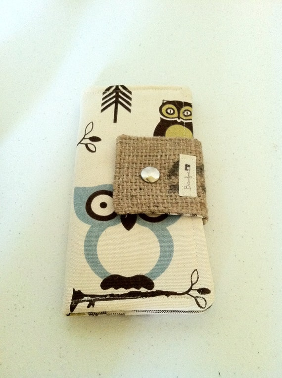 Clutch Wallet Owls with Brown Ticking Stipes and Geometric Chartreuse
