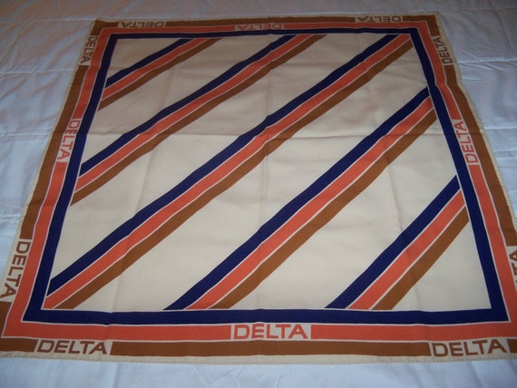 Authentic 70s Vintage Delta Airlines Flight Attendant Collectible Scarf