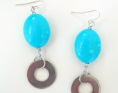 Chunky Earrings - Geometric Turquoise and Silver Industrial Washer Earrings