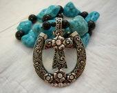 Western Necklace, Horseshoe Pendant, Cross Pendant, Turquoise Beads, Turquoise Necklace, Southwest Necklace, Western Accessory