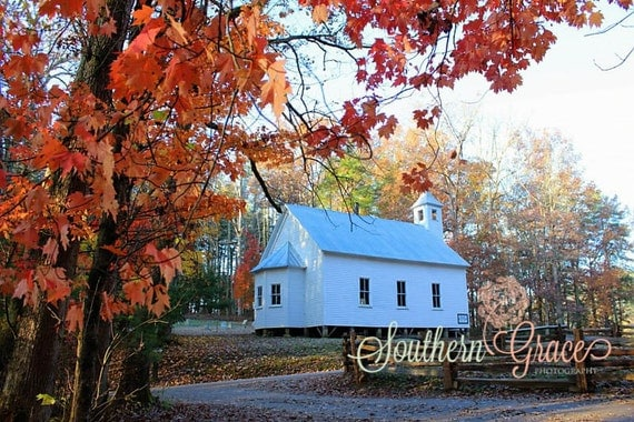Little White Church - Cades Cove Photography - Methodist Church- Fall Foilage - Smoky Mountains - Cades Cove - 8x10 Photo