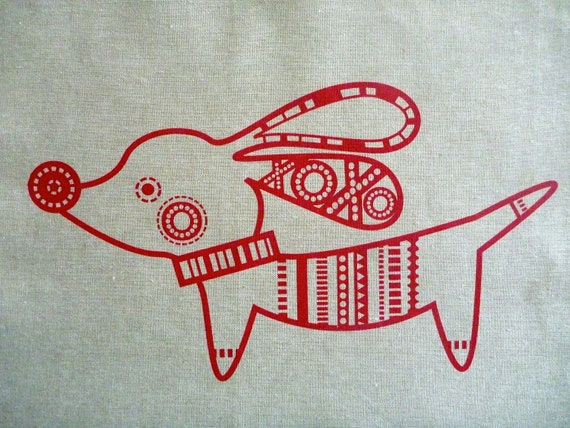 Screen Printed Pipsqueak Red on Flax Essex Linen Panel