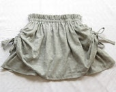 Girls grey polka dot cotton skirt with scrunch side ties knee length paper bag style