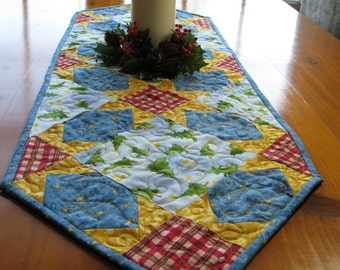 Christmas quilted table runner, blue and gold table topper, handmade holiday decor,