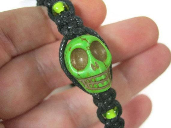 Neon Green Howlite Skull Macrame Bracelet, Adjustable