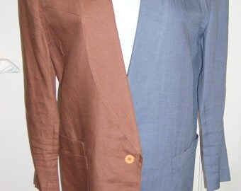 80s Claude Montana linen jacket, two toned