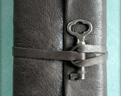 Small Long Stitched Leather and Vintage Key Bound Journal