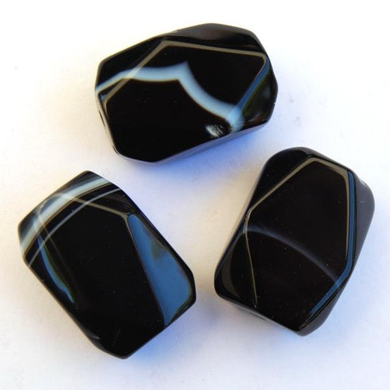 Black Onyx Faceted Nugget Beads White Stripes