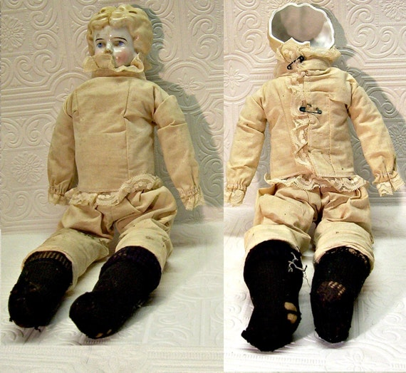 "Vintage Sawdust Stuffed Doll with broken China head 15"" Rejuvenate Old Rebirth Prop"