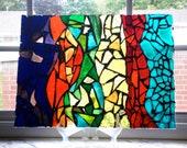 Glass Mosaic Window Art - Large Rainbow Abstract