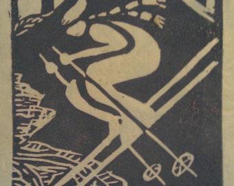 "Tahoe Downhill skier 4"" x 5"" linocut print in lavendar on Natural buff paper"