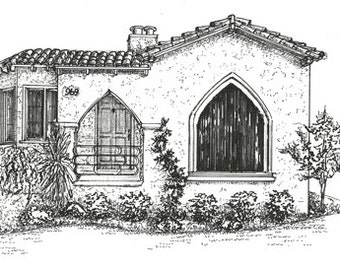 House Drawing,  Custom Ink Sketch, portrait of your home, pen and ink, black & white, architectural drawing of your home or business