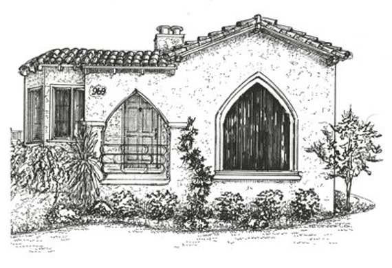 House drawing custom ink sketch portrait of your home pen for Draw your house