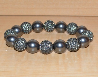 12mm Gray Grey Pave Crystal Disco Ball Bead and Swarovski Pearl Stretch Bracelet  - 1216B - SW8