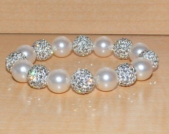 12mm White Ivory Pave Crystal Disco Ball Bead and Swarovski Pearl Stretch Bracelet  - 1216B - SW8