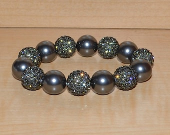 14mm Gray Grey Pave Crystal Ball Bead and Swarovski Pearl Stretch Bracelet - 1414B - SW8