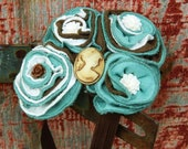 Romantic Linen Brown-Ivory-and Teal Headband Fascinator