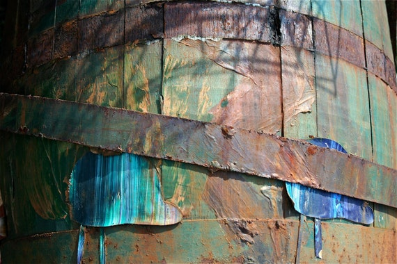 Abstract Fine Art Photography Still-Life Color Photo, Blue and Orange -  Barrel - 8x12