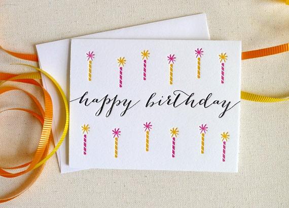 Letterpress Birthday Candles Single Card