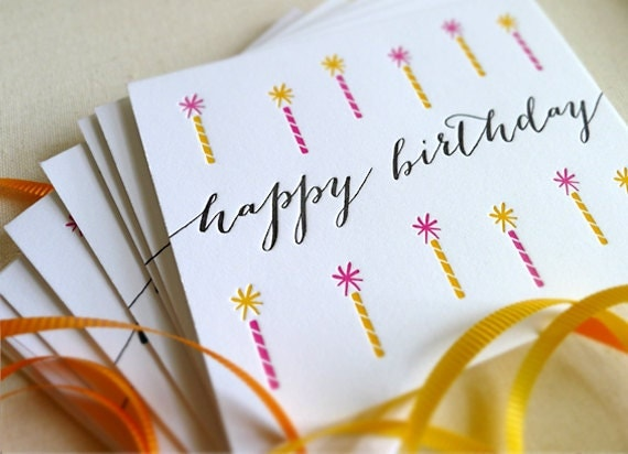 Letterpress Birthday Candles Set of 6