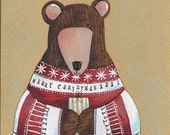 hand painted bear christmas card