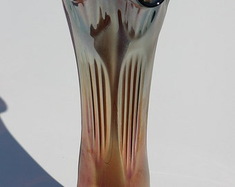 Antique rare MAINE Estate Iridescent Amethyst Carnival Glass Gladiola Tall Flower Vase Perfect for Long Stem Flowers, Branches