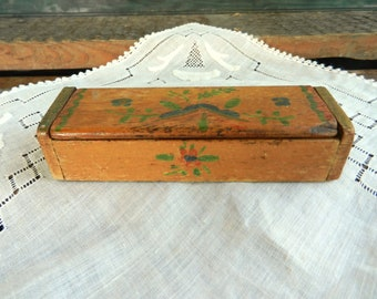Antique Hand Painted Postage Stamp Box