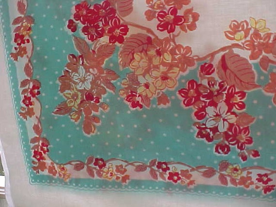 Vintage Tablecloth Rich Colors Reds, Aqua, Coral circa 1950  25% SALE NOW