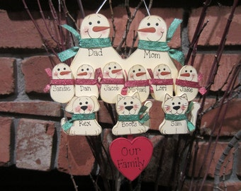 11 Family Members:  Personalized Snowman & Pet Ornament