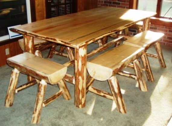 Items Similar To Log Cabin Kitchen Table On Etsy