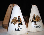 Mid century Kitchen Decor......Retro Kitsch.....Ceramic Salt and Pepper Shakers in Wood Caddy Roosters