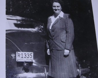 When Cars Had Rumble Seats.....1947 Photo With Woman in Pin Stripe Suit