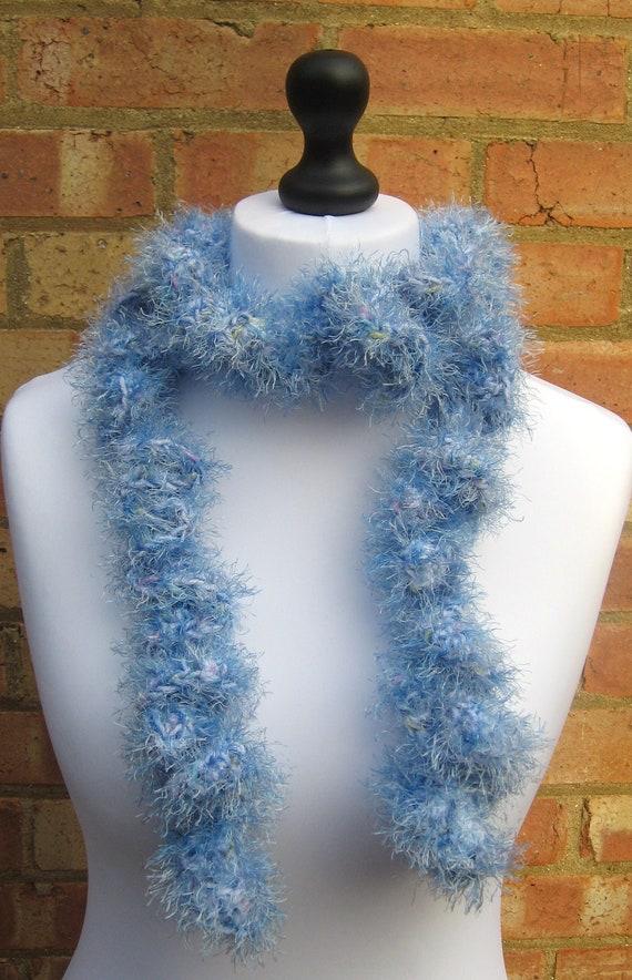 Thin Blue Twisty Scarf Fun Fur Scarf Hand Crochet  Scarf Twisty Boa