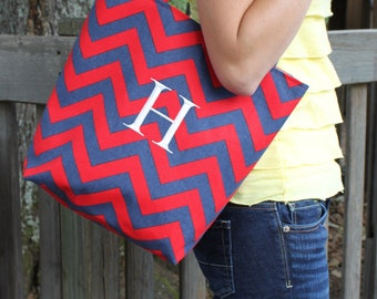 Medium OLE MISS red and blue CHEVRON stripe zigzag Handbag/ Diaper Bag/ Purse/ Tote/ Beach Bag