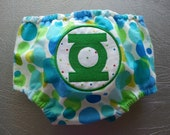 Green Lantern Embroidered Diaper Cover Geeky Superhero