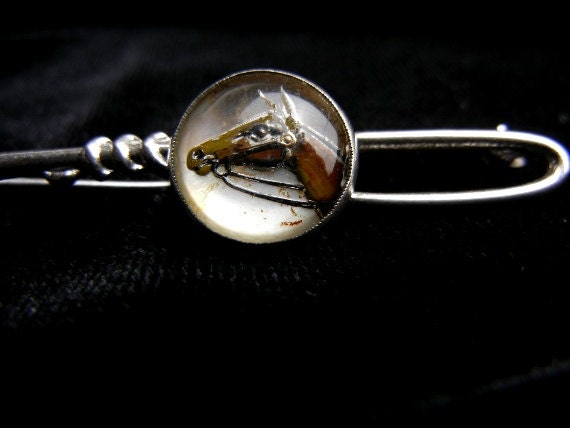 Vintage 1960s sterling silver horse head stick pin