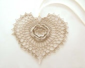 Irish Crochet Heart Ornament/Applique