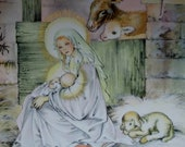 Mary and Joseph Worsip Their King, A Vintage Art Prints from  Masha's  1940's Book, A Child's Story of the Nativity