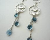 Silver Bird Earrings - Hanging down London Blue Water Droplets